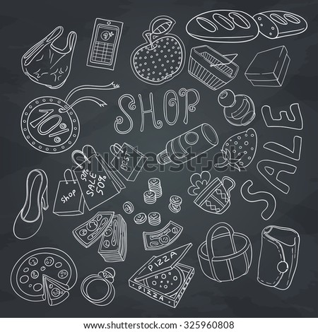 Set of objects shopping. Hand drawn ornaments. Outline without color fill. Doodles. Sketches of shopping objects on blackboard.