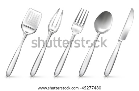 Set of objects with kitchen utensil, mesh