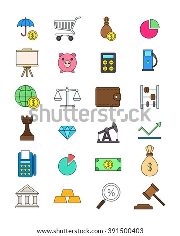 Set of 24 of color economy icons