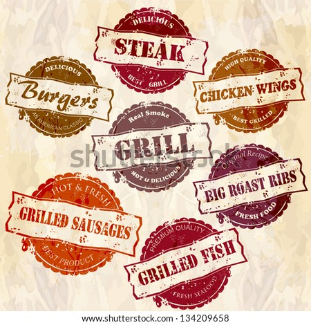 set of of retro grunge grill stamps - stock vector