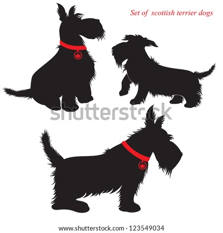 Set of of scottish terrier Scottie Dog Sitting Silhouette