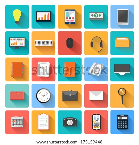 Set of office and business work elements in flat design - stock vector