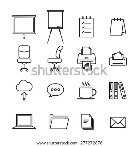 set of office and organization line icons illustration for design EPS 10 - stock vector