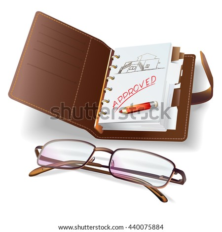 Set of office and writing tools, isolated on white. Vector clip-art - stock vector