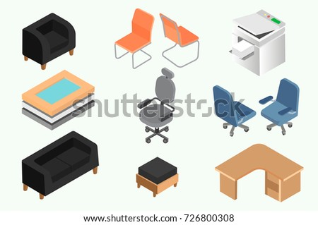 isometric office furniture vector collection. interesting collection set of office furniture and equipment for design in the style an  interior with isometric office furniture vector collection