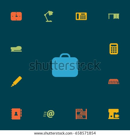Set Of 13 Office Icons Set.Collection Of Book, Espresso, Calculate And Other Elements.