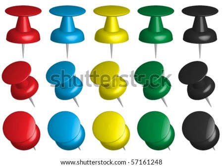 Set of Office Pins - stock vector