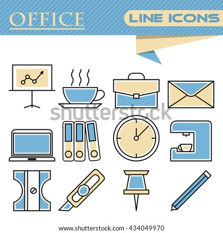 Set of office thin line icons - stock vector