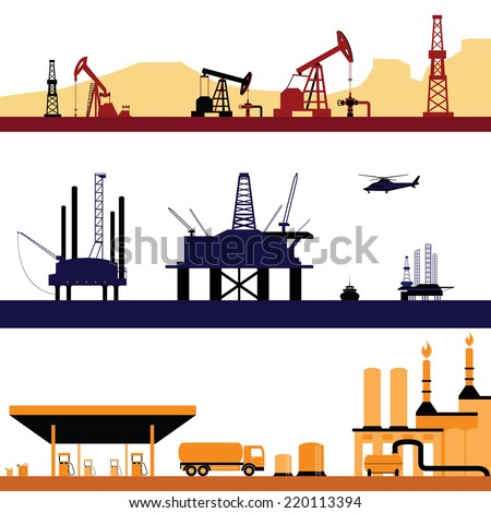 Set of Oil and Gas Energy Industry Landscape - stock vector
