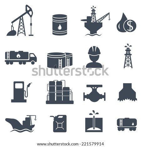 Set of oil and gas grey icons on white background. Petroleum industry vector illustration - stock vector