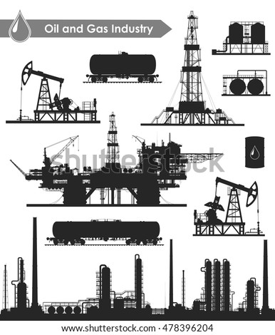 Set of oil and gas industry silhouettes. Oil refinery, offshore sea and land drilling rigs, pumpjacks and railroad tanks. Vector illustration.