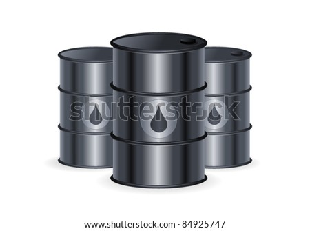 Set of Oil Barrels on Isolated  White Background.