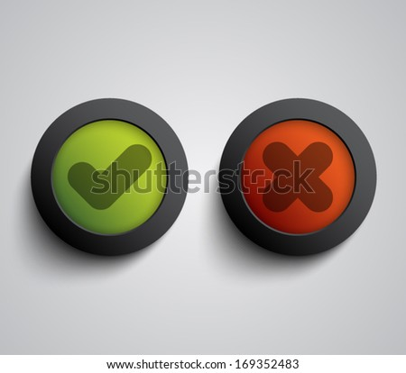 Set of ok and cancel plastic buttons / icons, glossy and modern design for websites (UI) or applications (app) for smartphones and tablets. Validation buttons