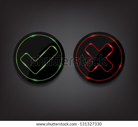 Set of ok and cancel plastic buttons / icons with shiny neon lights, glossy and modern design for websites (UI) or applications (app) for smartphones or tablets - stock vector