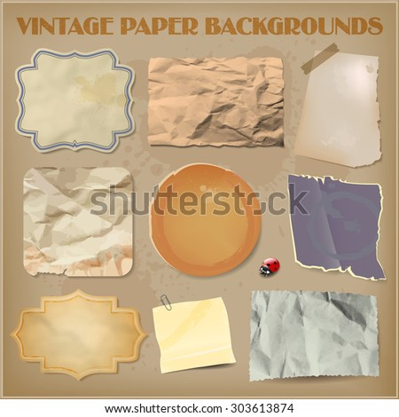 Set of old crumpled vintage paper backgrounds. Vector illustration. - stock vector