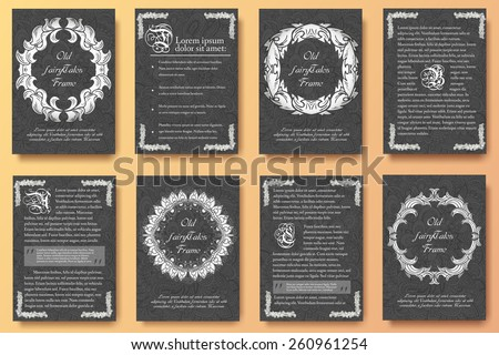 Set of old fairy tail flyer pages ornament illustration concept. Vintage art traditional, Islam, arabic, indian, ottoman motifs, elements. Vector decorative retro greeting card or invitation design.  - stock vector