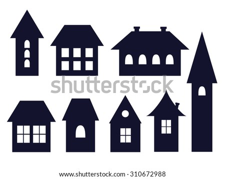set of old fashioned house icons, vector illustration - stock vector