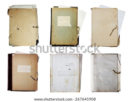 set of old folders with stack of papers, vector - stock vector