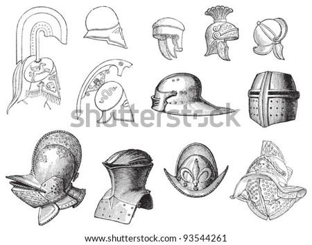 Set of old helmets / illustration from Meyers Konversations-Lexikon 1897 - stock vector