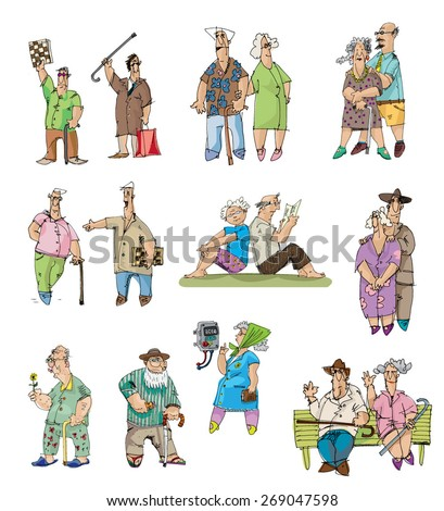 set of old men and pensioners - cartoon - stock vector