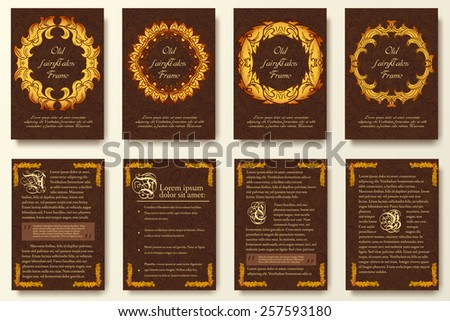 Set of old middle ages flyer pages ornament illustration concept. Vintage art traditional, Islam, arabic, indian, ottoman motifs, elements. Vector decorative retro greeting card or invitation design.  - stock vector
