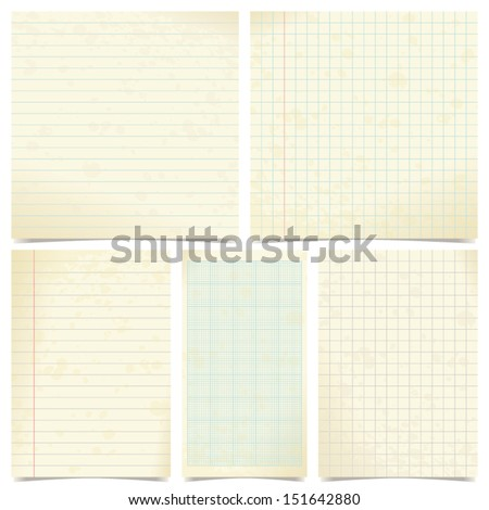 set of old paper - stock vector
