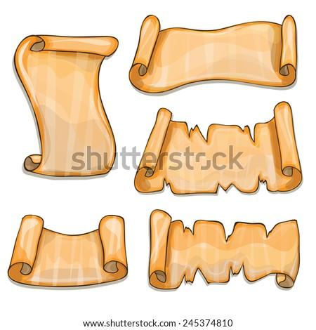 Set of old paper scrolls - cartoon vector - stock vector