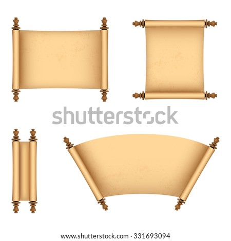 Set of old paper scrolls. Vector Illustration