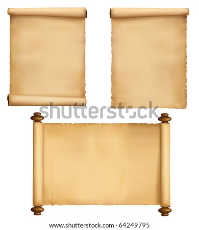Set of old paper sheets. Vector. - stock vector