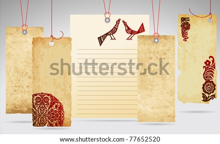 set of old paper tags with ornaments - stock vector