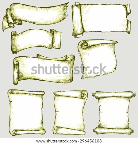 Set of old parchments. Scrolls paper - stock vector