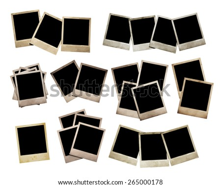 set of old photos, vector. - stock vector