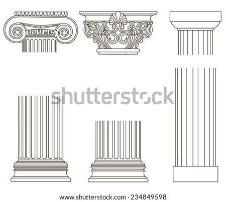 Set of old-style greece column. eps10 vector illustration