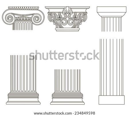 Set of old-style greece column. eps10 vector illustration - stock vector