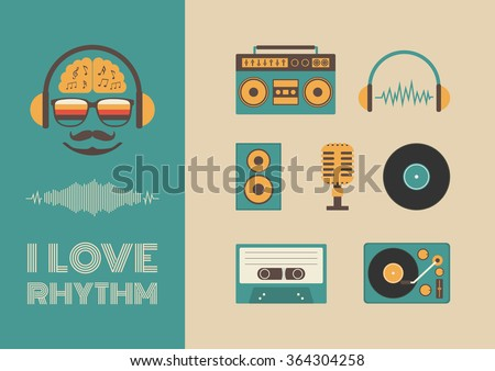 set of old style listening gadget icon, retro revival - stock vector