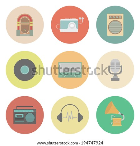 set of old style sound, flat style - stock vector