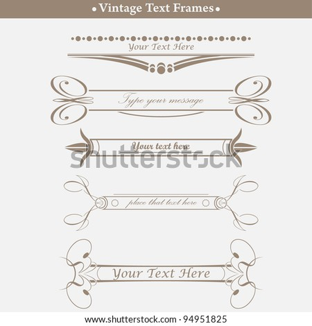 set of old-styled text frames - stock vector