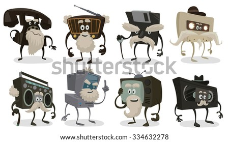 Set of old things that were popular in past but now don't used, audio tape, video tape, radio, phone, computer, boombox, vector - stock vector