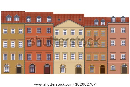 set of old town buildings