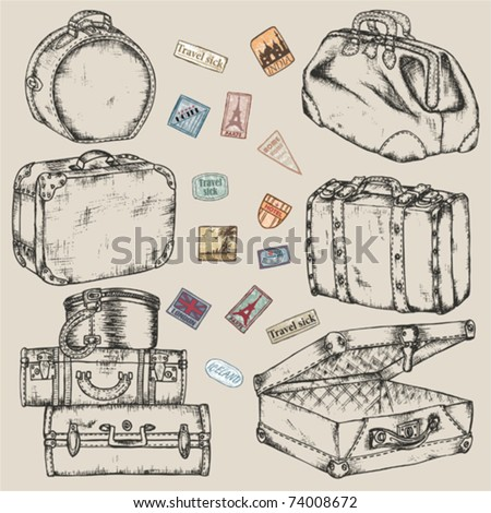 Set of old vintage suitcases and road labels - stock vector