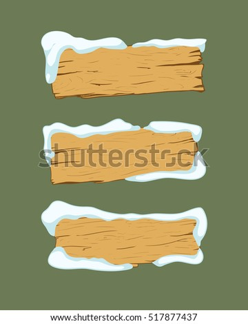 Set of old wood planks covered with snow. Winter design. Vector Illustration.