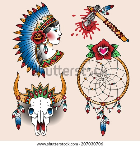 Set Oldschool Tattoos Native American Symbols Stock Vector 207030706