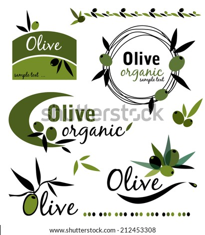 Set of olive labels,different elements - stock vector