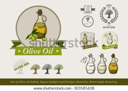 Set of olive oil labels,logos badges and design elements.  Olive oil bottle. Retro style drawing. Vector illustration. - stock vector
