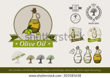 Set of olive oil labels,logos badges and design elements.  Olive oil bottle. Retro style drawing. Vector illustration. - stock vector