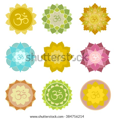 Set of om symbols isolated. Perfect for yoga and meditation practice logo, label, invitations and more. Indian spiritual symbols in abstract lotus flowers - stock vector