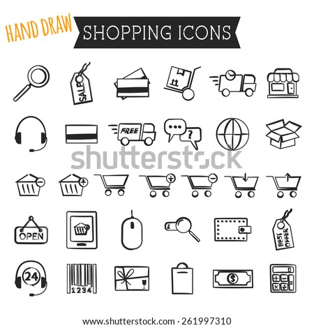 Set of On-Line Shopping icons isolated on white background. Hand drawn, sketched, doodle style. Outline. Can be use as elements in infographics, as web and mobile icons etc. Vector illustration - stock vector