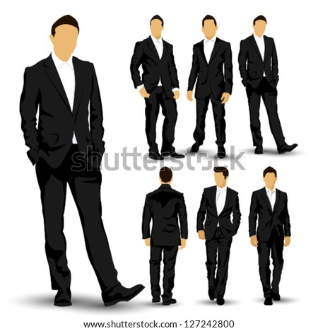 Set of one business people in six different poses - stock vector