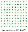 Set of one hundred green icons for website interface, business designs, finance, security and leisure. Vector illustration. - stock vector