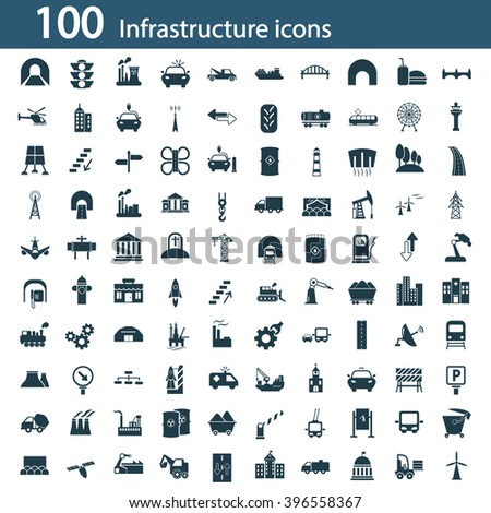 Set of one hundred industry and infrastructure icons